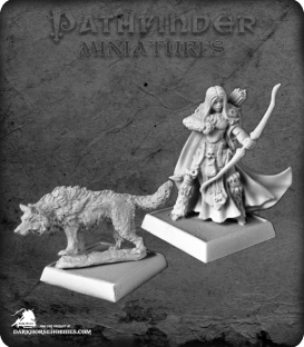 Pathfinder Miniatures: Adowyn & Leryn (Iconic Hunter & Wolf)