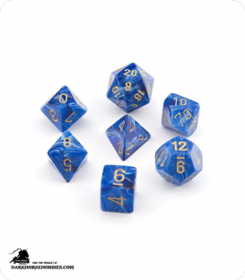 Chessex: Vortex Blue/Gold Polyhedral dice set