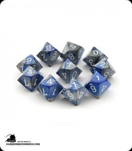 Chessex: Gemini Blue Steel/White d10 dice set