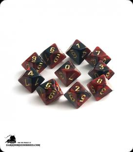 Chessex: Gemini Black Red/Gold d10 dice set