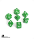 Chessex: Opaque Green/White Polyhedral dice set (7)