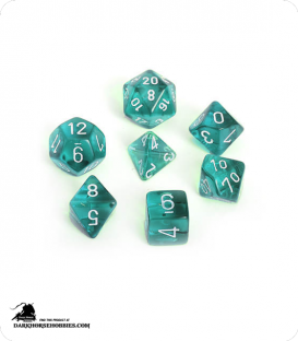 Chessex: Translucent Teal/White Polyhedral dice set