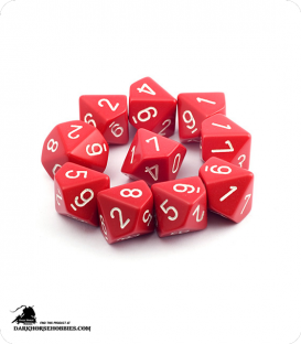Chessex: Opaque Red/White d10 dice set