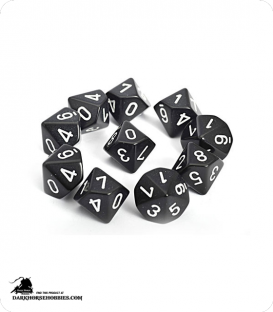 Chessex: Opaque Black/White d10 dice set