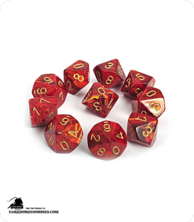 Chessex: Scarab Scarlet/Gold d10 dice set
