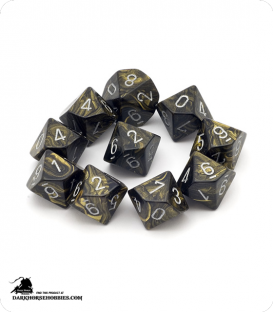 Chessex: Leaf Black Gold/Silver d10 dice set
