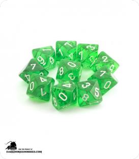 Chessex: Translucent Green d10 dice set