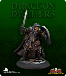 Dungeon Dwellers: Baran Blacktree, Veteran Warrior (painted by Rhonda Bender)
