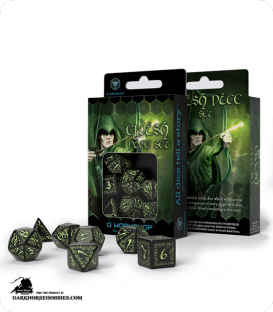 Elven Black-Glow in the Dark Polyhedral dice set