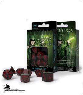 Elven Black-Red Polyhedral dice set