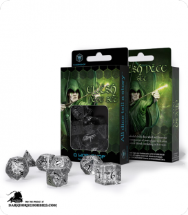Elven Transparent-Black Polyhedral dice set