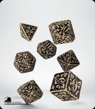 Forest Beige-Black Polyhedral dice set