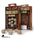 Steampunk Beige-Black Polyhedral Dice Set (7)