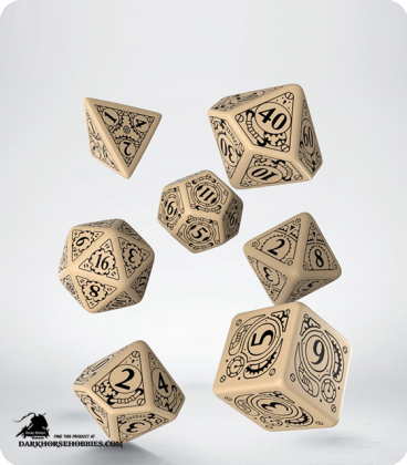 Steampunk Beige-Black Polyhedral Dice Set