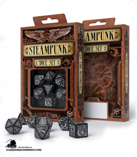 Steampunk Black-White Polyhedral Dice Set