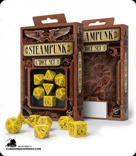 Steampunk Yellow-Black Polyhedral Dice Set