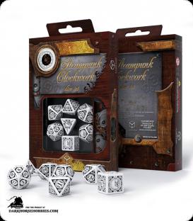 Steampunk Clockwork White-Black Polyhedral Dice Set