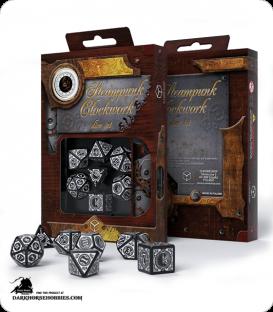 Steampunk Clockwork Black-White Polyhedral Dice Set