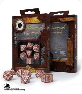 Steampunk Clockwork Caramel-White Polyhedral Dice Set