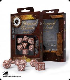 Steampunk Clockwork Caramel-White Polyhedral Dice Set