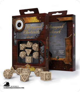 Steampunk Clockwork Beige-Brown Polyhedral Dice Set