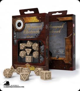 Steampunk Clockwork Beige-Brown Polyhedral Dice Set