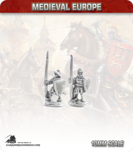 10mm European Mid Medieval: Spearmen in Gambeson and Helmet