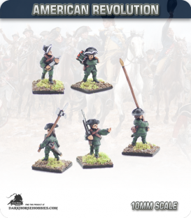 10mm American Revolution: Continental Command in Hunting Shirts (painted by Andy Mac)