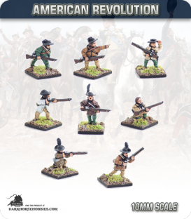 10mm American Revolution: American Riflemen with Command (painted by Andy Mac)