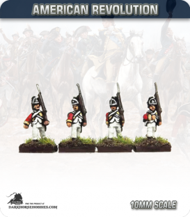 10mm American Revolution: British Line Infantry in Saratoga Uniform - Marching (painted by Andy Mac)
