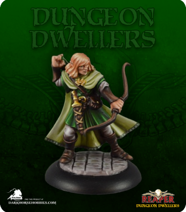 Dungeon Dwellers: Lanaerel Grayleaf, Elf Ranger (painted by Jennifer Greewald)