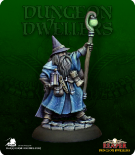 Dungeon Dwellers: Luwin Phost, Adventuring Wizard (painted by Derek Schubert)