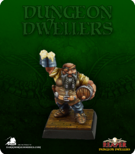 Dungeon Dwellers: Jalarak Leadbarrels, Dwarf Brewmaster (painted by Jennifer Greenwald)