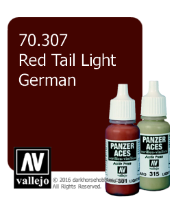 Vallejo Model Colors - Panzer Aces: Acrylic Paint - Red Tail Light German (17ml)