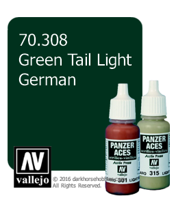 Vallejo Model Colors - Panzer Aces: Acrylic Paint - Green Tail Light German (17ml)