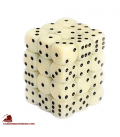 Chessex: Opaque 12mm d6 Ivory/Black dice set (36)