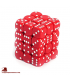 Chessex: Opaque 12mm d6 Red/White dice set (36)