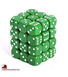Chessex: Opaque 12mm d6 Green/White dice set (36)