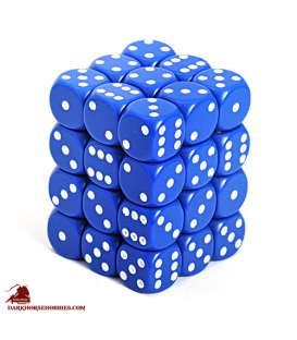 Chessex: Opaque 12mm d6 Blue/White dice set (36)