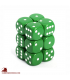 Chessex: Opaque 16mm d6 Green/White dice set (12)