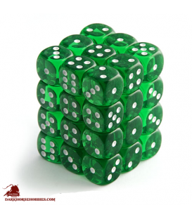 Chessex Dice: Translucent 12mm d6 Green/White dice set (36)