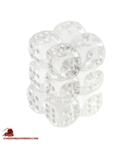 Chessex Dice: Translucent 16mm d6 Clear/White dice set (12)