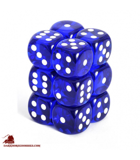 Chessex Dice: Translucent 16mm d6 Blue/White dice set (12)