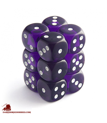 Chessex Dice: Translucent 16mm d6 Purple/White dice set (12)