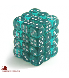 Chessex Dice: Translucent 12mm d6 Teal/White dice set (36)