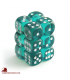 Chessex Dice: Translucent 16mm d6 Teal/White dice set (12)