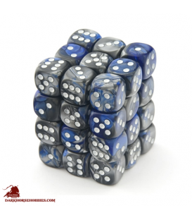 Chessex: Gemini 12mm d6 Blue Steel/White dice set (36)