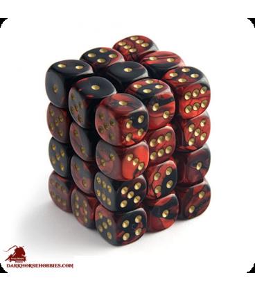 Chessex: Gemini 12mm d6 Black Red/Gold dice set (36)