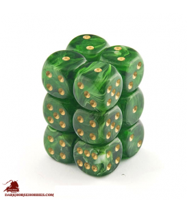 Chessex: Vortex 16mm d6 Green/Gold dice set (12)