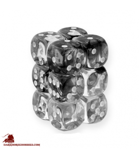 Chessex: Nebula 16mm d6 Black/White dice set (12)